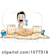 Clipart Happy Summer Boy Building A Sand Castle Royalty Free Vector Illustration