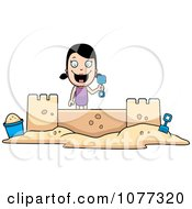 Clipart Summer Girl Building A Sand Castle Royalty Free Vector Illustration by Cory Thoman