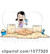 Clipart Summer Girl Building A Sand Castle Royalty Free Vector Illustration