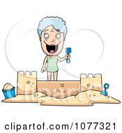 Clipart Senior Granny Woman Building A Sand Castle Royalty Free Vector Illustration