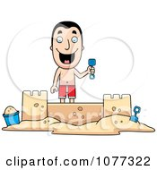 Clipart Summer Man Building A Sand Castle Royalty Free Vector Illustration by Cory Thoman