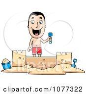 Clipart Summer Man Building A Sand Castle Royalty Free Vector Illustration