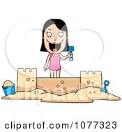 Clipart Summer Woman Building A Sand Castle Royalty Free Vector Illustration