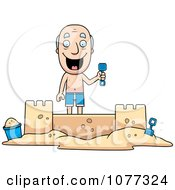 Clipart Summer Grandpa Building A Sand Castle Royalty Free Vector Illustration
