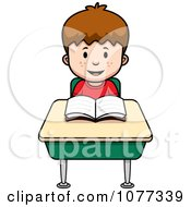 Clipart School Boy Reading At His Desk Royalty Free Vector Illustration by Cory Thoman