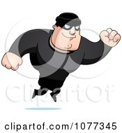 Clipart Jumping Male Robber In Black Royalty Free Vector Illustration