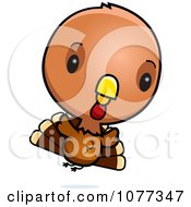 Clipart Cute Baby Turkey Bird Flying Royalty Free Vector Illustration by Cory Thoman