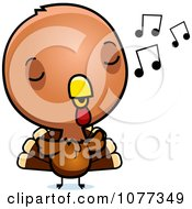 Clipart Cute Baby Turkey Bird Whistling Royalty Free Vector Illustration by Cory Thoman