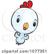 Clipart Cute Baby White Rooster Chick Flying Royalty Free Vector Illustration