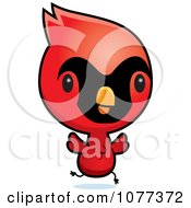 Clipart Cute Red Baby Cardinal Chick Running Royalty Free Vector Illustration by Cory Thoman