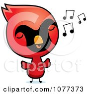 Clipart Cute Red Baby Chick Whistling Royalty Free Vector Illustration by Cory Thoman