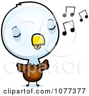 Clipart Cute Baby Bald American Eagle Chick Whistling Royalty Free Vector Illustration