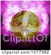 Clipart 3d Golden Disco Ball On Purple Royalty Free Vector Illustration