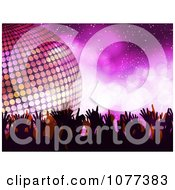 Clipart Silhouetted Dancers And A 3d Disco Ball On Purple Royalty Free Vector Illustration