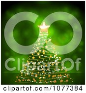 Clipart 3d Gold Star On A Garland Christmas Tree Over Green Royalty Free Vector Illustration by elaineitalia