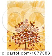 Clipart Fall Tree With Autumn Leaves Over Orange Grunge Royalty Free Vector Illustration