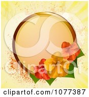 Clipart Circular Frame With Red And Yellow Hibiscus Flowers Over Yellow Grunge Royalty Free Vector Illustration