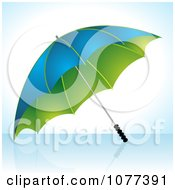 Clipart 3d Blue And Green Umbrella On A Reflective Surface Royalty Free Vector Illustration