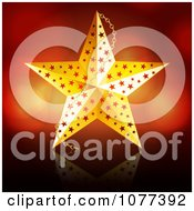 3d Golden Christmas Star Ornament Over Red
