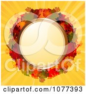 Clipart 3d Circular Autum Leaf Frame On Yellow Rays Royalty Free Vector Illustration