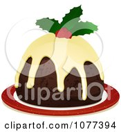 Clipart 3d Christmas Pudding With Frosting And Holly Royalty Free Vector Illustration by elaineitalia