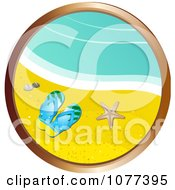 Clipart Gold Circular Frame With Sandals On A Beach Royalty Free Vector Illustration