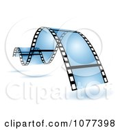 Clipart Blue Wavy Film Strip Royalty Free Vector Illustration