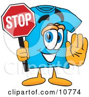Clipart Picture Of A Blue Short Sleeved T Shirt Mascot Cartoon Character Holding A Stop Sign by Toons4Biz