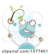 Clipart Blue Robot Holding A Seedling Plant Royalty Free Vector Illustration