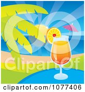 Clipart Tequila Sunrise Tropical Cocktail Beverage By A Palm Tree Royalty Free Vector Illustration