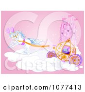 Horse Drawn Carriage On A Cloud By A Castle
