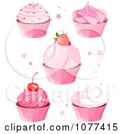 Clipart Five Pink Cupcakes With Stars Royalty Free Vector Illustration by Pushkin