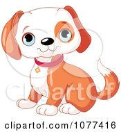 Clipart Cute Happy Puppy Sitting Royalty Free Vector Illustration