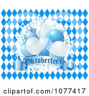Oktoberfest Balloons Over Blue And White Diamonds