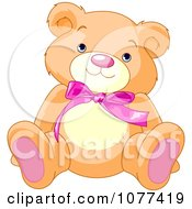 Clipart Cute Teddy Bear With A Pink Bow Royalty Free Vector Illustration
