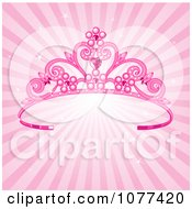 Pink Pageant Princess Tiara Crown Over Sparkly Rays Royalty Free Vector Illustration by Pushkin