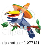 Clipart Toucan Wearing A Sombrero And Pointing On A Branch Royalty Free Vector Illustration