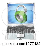 Clipart 3d Padlock Emerging From A Laptop Computer Royalty Free Vector Illustration