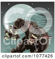 Clipart Vicious Werewolf Attacking Under A Full Moon Royalty Free Vector Illustration