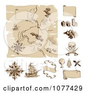 Clipart Worn Old Treasure Map And Design Elements Royalty Free Vector Illustration by AtStockIllustration