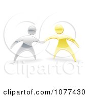 Clipart 3d Silver And Gold People Shaking Or Holding Hands Royalty Free Vector Illustration