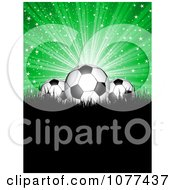 3d Soccer Balls Under Blue Rays On Black Grass With Copyspace