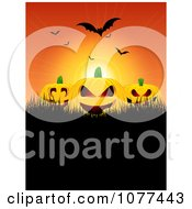 Clipart Vampire Bats Over Jackolanterns And Black Grass Copyspace Royalty Free Vector Illustration