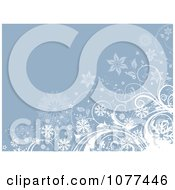 Clipart Blue Floral Snowflake Background With Copyspace Royalty Free Vector Illustration