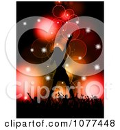 Clipart Sillhouetted Female Singer On Stage In Front Of Her Concert Fans Royalty Free Vector Illustration