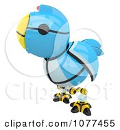 3d Robotic Blue Tweet Bird Facing Left