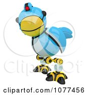 Clipart 3d Robotic Blue Tweet Bird Glancing Royalty Free CGI Illustration by Leo Blanchette