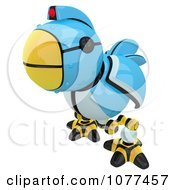 3d Curious Robotic Blue Tweet Bird