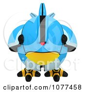 Clipart 3d Robotic Blue Tweet Bird Facing Front Royalty Free CGI Illustration by Leo Blanchette