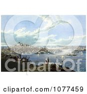 Painting Of People With A View Of Boston And The Harbor At Dorchester Heights Royalty Free Historical Clip Art by JVPD